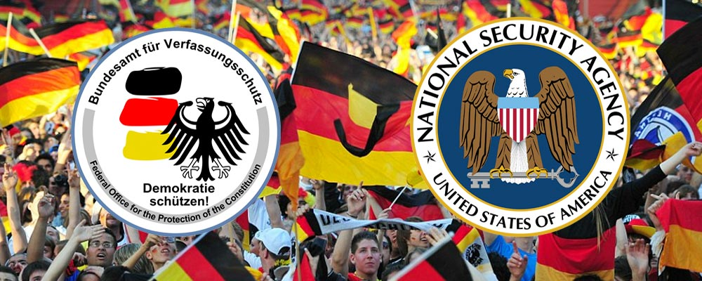BfV and NSA logo against German football crowd