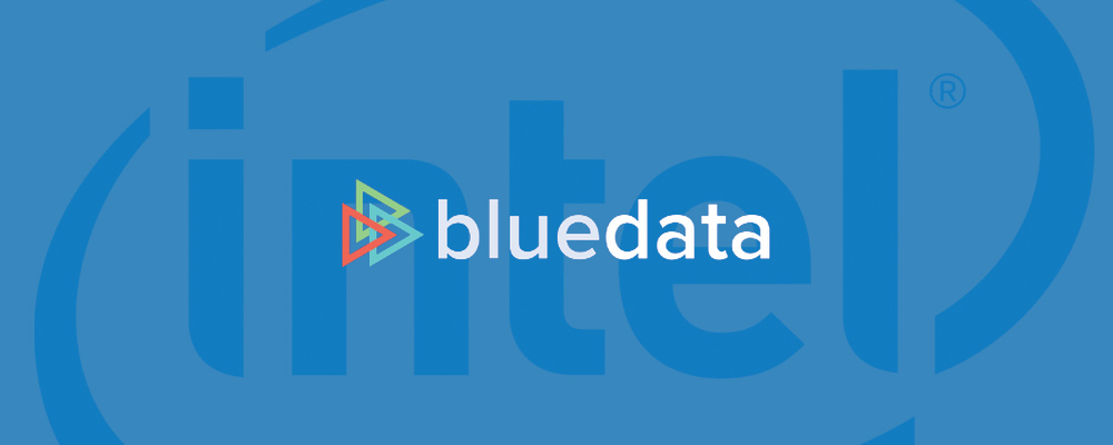 BlueData logo over Intel logo