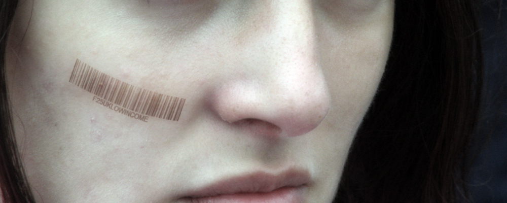 Woman with barcode on face (Data brokers illustration)