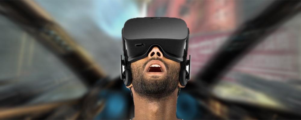 Man playing a game on Oculus Rift