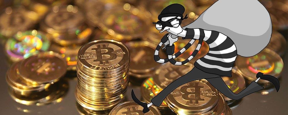 Bitcoin with robber cartoon