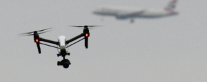 Picture of Drone with British Airways plan in the background